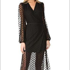 Yumi kim long sleeve sheer polka dot wrap dress